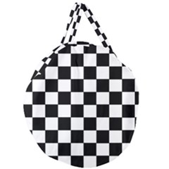 Grid Domino Bank And Black Giant Round Zipper Tote