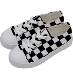 Grid Domino Bank And Black Kids  Low Top Canvas Sneakers by Nexatart