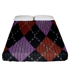 Knit Geometric Plaid Fabric Pattern Fitted Sheet (california King Size) by paulaoliveiradesign