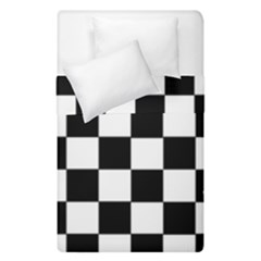 Grid Domino Bank And Black Duvet Cover Double Side (single Size) by Nexatart