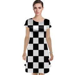 Grid Domino Bank And Black Cap Sleeve Nightdress