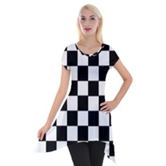 Grid Domino Bank And Black Short Sleeve Side Drop Tunic
