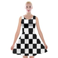 Grid Domino Bank And Black Velvet Skater Dress by Nexatart