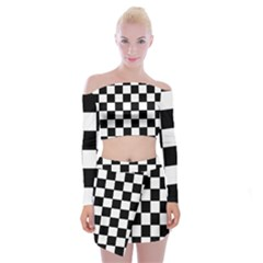 Grid Domino Bank And Black Off Shoulder Top With Skirt Set by Nexatart
