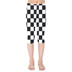 Grid Domino Bank And Black Kids  Capri Leggings  by Nexatart