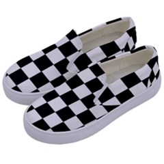 Grid Domino Bank And Black Kids  Canvas Slip Ons by Nexatart