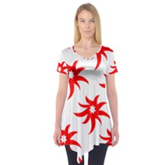Star Figure Form Pattern Structure Short Sleeve Tunic