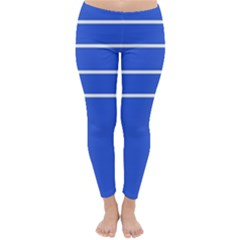 Stripes Pattern Template Texture Blue Classic Winter Leggings