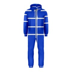 Stripes Pattern Template Texture Blue Hooded Jumpsuit (kids)