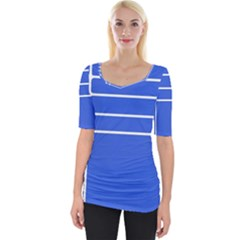 Stripes Pattern Template Texture Blue Wide Neckline Tee by Nexatart
