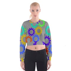 Gear Transmission Options Settings Cropped Sweatshirt by Nexatart
