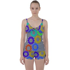Gear Transmission Options Settings Tie Front Two Piece Tankini by Nexatart