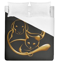 Gold Dog Cat Animal Jewel Dor¨| Duvet Cover (queen Size) by Nexatart
