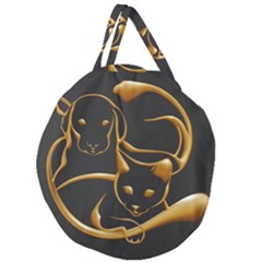 Gold Dog Cat Animal Jewel Dor¨| Giant Round Zipper Tote