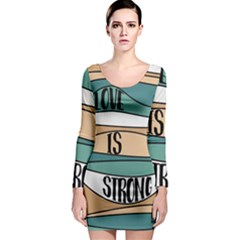 Love Sign Romantic Abstract Long Sleeve Bodycon Dress