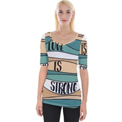 Love Sign Romantic Abstract Wide Neckline Tee