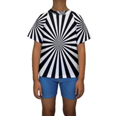 Rays Stripes Ray Laser Background Kids  Short Sleeve Swimwear