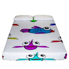 Fish Swim Cartoon Funny Cute Fitted Sheet (queen Size)