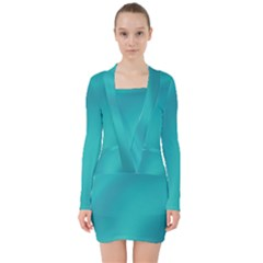 Background Image Background Colorful V-neck Bodycon Long Sleeve Dress