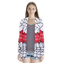 Love Abstract Heart Romance Shape Drape Collar Cardigan