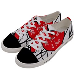 Love Abstract Heart Romance Shape Women s Low Top Canvas Sneakers by Nexatart