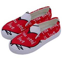 Love Abstract Heart Romance Shape Kids  Canvas Slip Ons by Nexatart