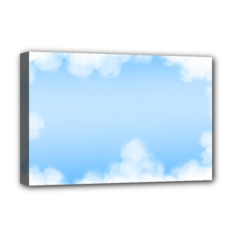Sky Cloud Blue Texture Deluxe Canvas 18  X 12