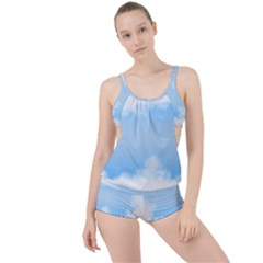 Sky Cloud Blue Texture Boyleg Tankini Set