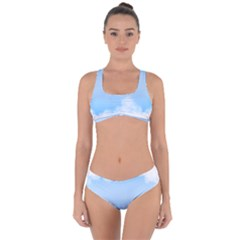 Sky Cloud Blue Texture Criss Cross Bikini Set