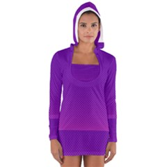 Halftone Background Pattern Purple Long Sleeve Hooded T Shirt by Nexatart