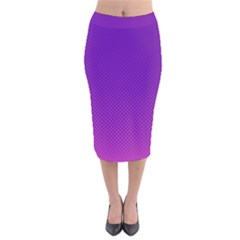 Halftone Background Pattern Purple Velvet Midi Pencil Skirt