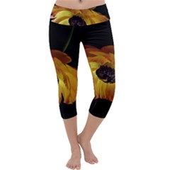 Ranunculus Yellow Orange Blossom Capri Yoga Leggings