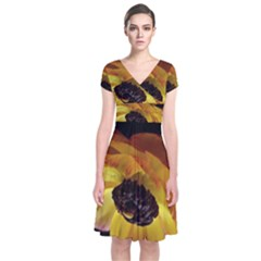 Ranunculus Yellow Orange Blossom Short Sleeve Front Wrap Dress
