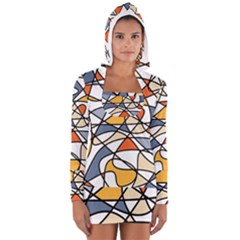 Abstract Background Abstract Long Sleeve Hooded T Shirt