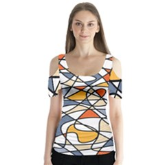 Abstract Background Abstract Butterfly Sleeve Cutout Tee