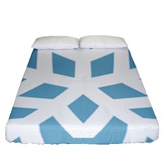 Snowflake Snow Flake White Winter Fitted Sheet (queen Size)
