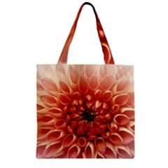 Dahlia Flower Joy Nature Luck Zipper Grocery Tote Bag by Nexatart