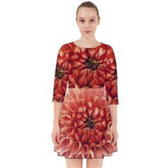 Dahlia Flower Joy Nature Luck Smock Dress