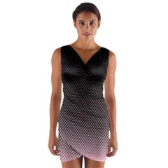 Halftone Background Pattern Black Wrap Front Bodycon Dress