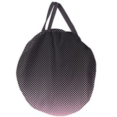 Halftone Background Pattern Black Giant Round Zipper Tote