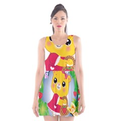 Bear Strawberries Scoop Neck Skater Dress