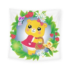 Bear Strawberries Square Tapestry (small)