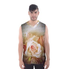 Roses Vintage Playful Romantic Men s Basketball Tank Top by Nexatart