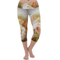 Roses Vintage Playful Romantic Capri Yoga Leggings by Nexatart