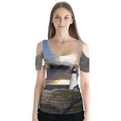 Lighthouse Beacon Light House Butterfly Sleeve Cutout Tee