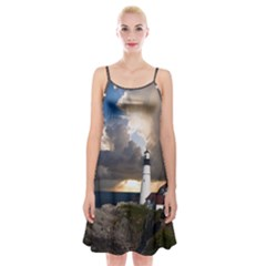 Lighthouse Beacon Light House Spaghetti Strap Velvet Dress