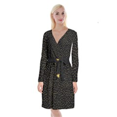 Grunge Pattern Black Triangles Long Sleeve Velvet Front Wrap Dress