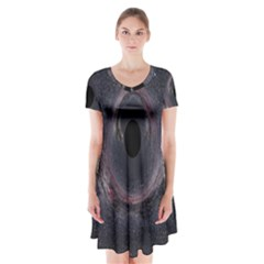 Black Hole Blue Space Galaxy Star Short Sleeve V Neck Flare Dress by Mariart