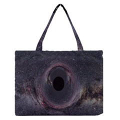 Black Hole Blue Space Galaxy Star Zipper Medium Tote Bag by Mariart
