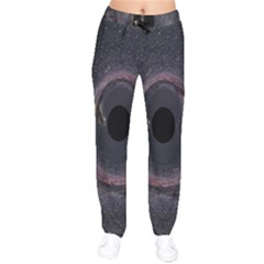 Black Hole Blue Space Galaxy Star Drawstring Pants by Mariart